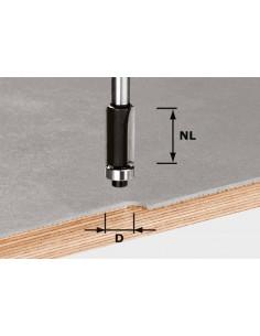 Fraise à affleurer HW avec queue de 8mm HW S8 D12,7/NL25 - Festool