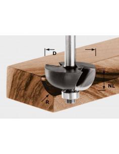 Fraise à gorge creuse HW avec queue de 8mm HW S8 D25,5/R6,35 KL - Festool