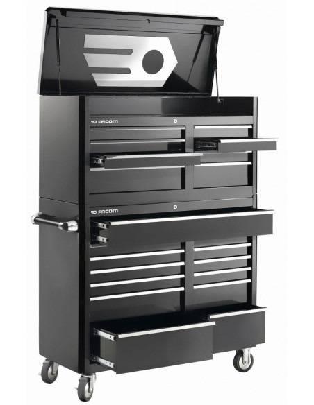 Servante US + coffre - 21 tiroirs, noire - FAS.21BK - Facom