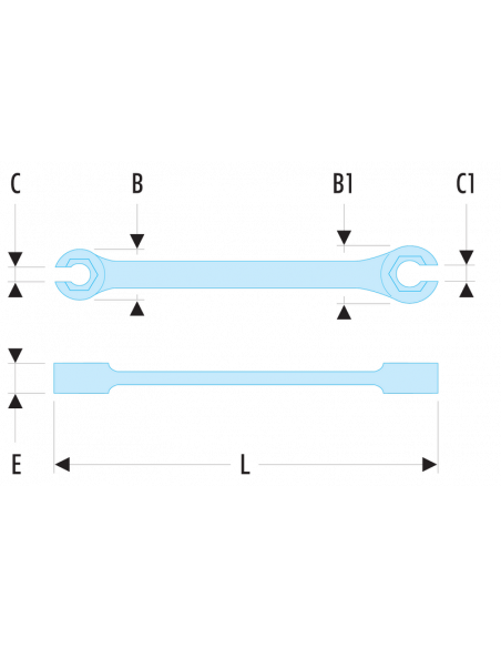 43 - Clés à tuyauter droites avec toile métriques - 43.12X14 - Facom