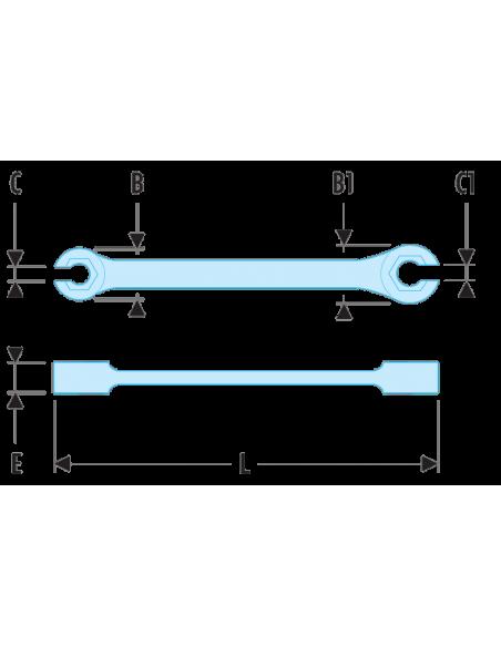 43 - Clés à tuyauter droites avec toile métriques - 43.7X9 - Facom