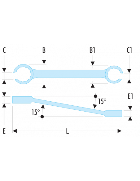 42 - Clés à tuyauter inclinées à 15° métriques - 42.14X17 - Facom