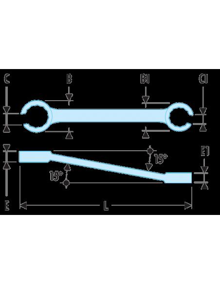 42 - Clés à tuyauter inclinées à 15° métriques - 42.8X10 - Facom