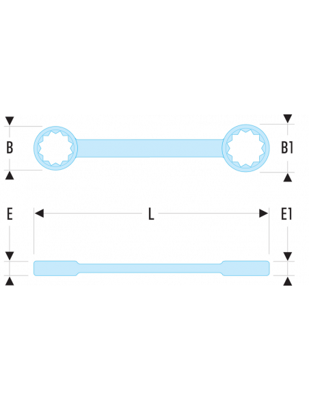 56L - Clés polygonales longues contrecoudées inclinées 10° métriques - 56L.8X9 - Facom