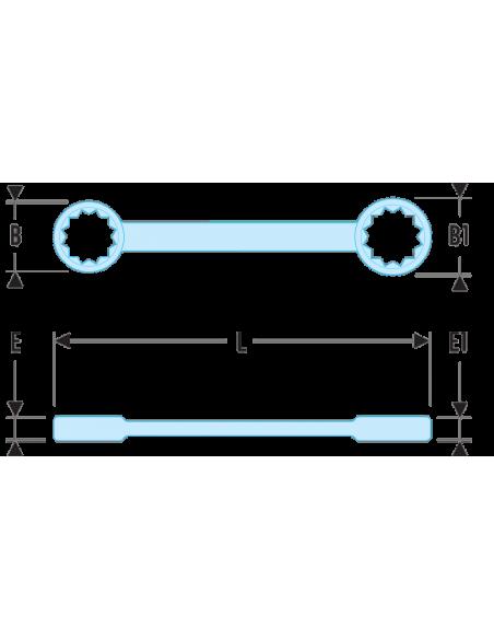 57L - Clés polygonales longues contrecoudées inclinées 15° métriques - 57L.5.5X7 - Facom