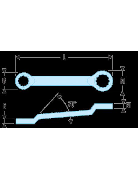 55A - Clés polygonales contrecoudées en pouces - 55A.19/32x25/32 - Facom
