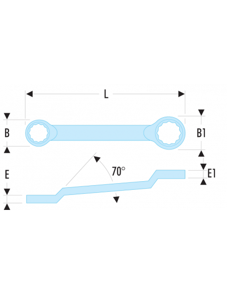 55A - Clés polygonales contrecoudées en pouces - 55A.5/8X11/16 - Facom