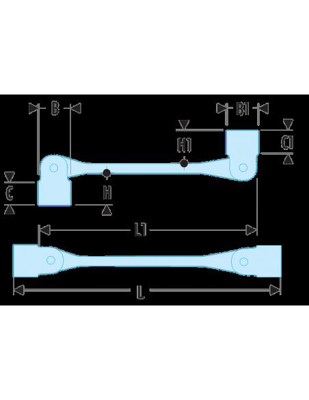 66A - Clés à douilles articulées métriques - 66A.14X15 - Facom