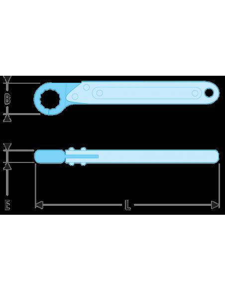70A - Clés à tuyauter droites avec toile métriques - 70A.16 - Facom