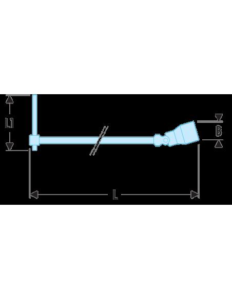 """99C - Clés à douilles en """"T"""" à cardan avec poignée coulissante métriques - 99C.7 - Facom"""