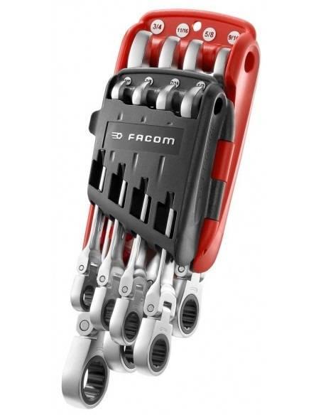 Jeu de clés mixtes à cliquet en pouces sur étui portatif - 467F.JPU8 - Facom