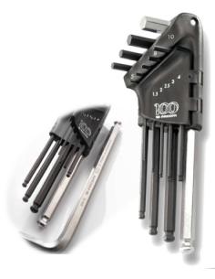 Jeu de 9 clés males longues 6 pans tête sphérique 1,5 a 10 mm sur étui édition limitée 100 ans - 83SH.JP9A100Y - Facom