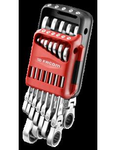 Jeu de 12 clés mixtes à cliquet à tête articulée édition limitée 100 ans - 467BF.JP12100Y - Facom