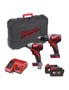 Pack 2 outils M18BPP2D-402C visseuse + visseuse à chocs + 2 batteries 18V 4Ah - 4933459900 - Milwaukee
