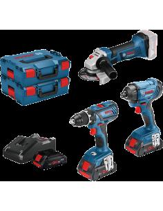 Pack 3 outils 18V 4.0 Ah Perceuse visseuse + Visseuse à chocs + Meuleuse | 0615990L56 - Bosch