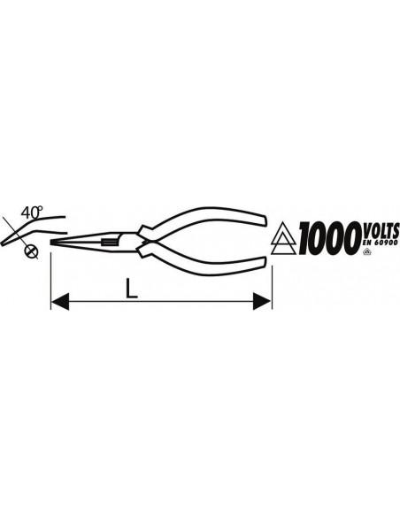 Pince demi-ronde 160 mm à becs coudés à 40° isolées 1000V VDE | E050410 - Expert by Facom